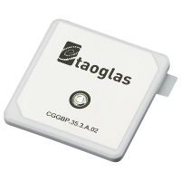 This CGGBP.35 35mm*35mm embedded ceramic GPS/GLONASS/GALILEO/ BEIDOU patch antenna has a wide band of operation, leading to excellent gain and radiation pattern stability on all three GNSS system bands. Compared to using a smaller antenna, this will translate into the GNSS system having much higher location accuracy, improved reliability of lock in urban areas, better signal reception, with more satellites acquired and a quicker time to first fix. The patch is mounted via pin and double-sided adhesive. While the antenna will work very well in most device environments (Note cannot be covered with metal enclosure), tuning and further optimization of this antenna to different ground-planes and enclosures can be done if required, also including a pin length change. These changes would be subject to possible NRE and a minimum order quantity. Contact your local Taoglas sales office for more details.